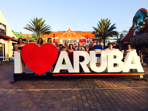 The Cote family celebrates Betty's birthday in Aruba