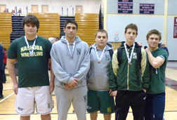 Nashoba Regional D2 State medalists (left to right):  Rich Stamos, Ed Quill, Jake Kennedy, James Kilgo, and Ronan Ball.  (Courtesy Nashoba Wrestling)