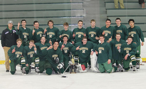 Miracle on Ice... After an undefeated 15-0-1 season, the Nashoba junior varsity hockey team nabbed the Central Mass JV Hockey Championship in a 4-3 decision over North Middlesex that ended with a nail-biting overtime shootout. The team is pictured with 1st year Coach Mike Colcord.    (Courtesy Bill Chapman)