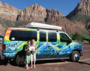 "Celia and Sonia Nicholson had a grand time way out west over April break.  They explored Zion National Park and the South Rim of the Grand Canyon in a groovy ""Escape Campervan""."
