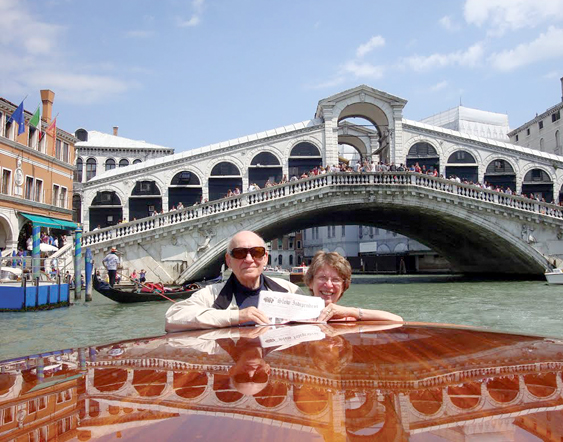 Bert and Linda Sellier's traveling companion, The Stow Independent, at the Rialto Bridge in Venice, Italy, part of a recent trip including Assisi, Rome for the papal canonization, Paris, London and Bert's 7-day sail home on the Queen Mary 2. (Linda opted to fly home in 7 hours.)
