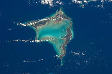 Crooked Island, Bahamas, as seen from the International Space Station. The shallow and clear waters around the island offer a dramatic view.                Courtesy Dan Barstow