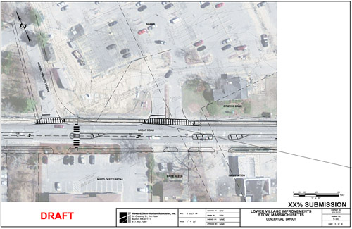 Lower Village Improvements conceptual layout                      Courtesy Stow Planning Board