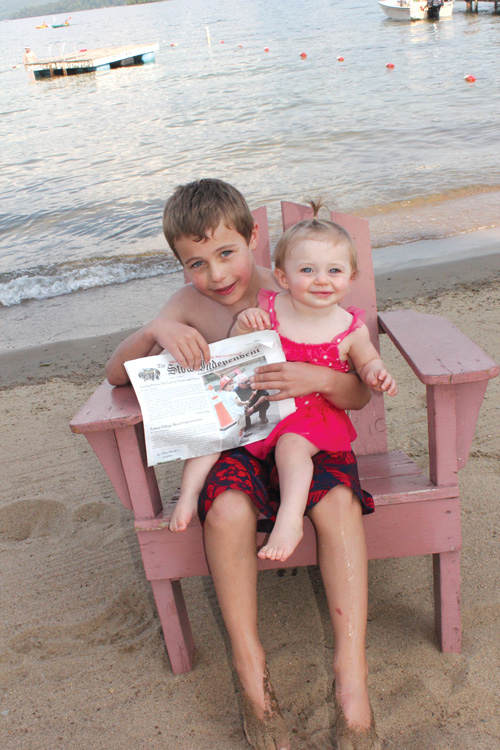 Sean and Brynn Connor brought the Independent to the shores of Lake George, New York, on their annual visit there with mom and dad (Jen and Ed Connor).  They enjoyed swimming, visiting with their grandparents, and going to the arcade.