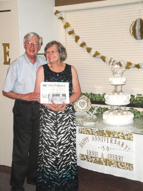 Sherry and Ernie Stonebraker celebrated their 50th Wedding Anniversary with 55 friends and family at Olmstead Manor in Ludlow, PA, and of course the Stow Independent went along.  The cake is a replica of the one at their wedding on July 11, 1964, with the original cake topper.  Photo by Tom Babb.