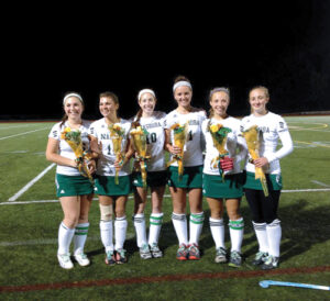 Field Hockey Senior night honors for (l-r):  Meghan Thorogood, Karleigh Elkins, Sarah Gaffney, Olivia Hurd, Emma Caviness, Clara Greszczuk.                         Courtesy Tania Rich