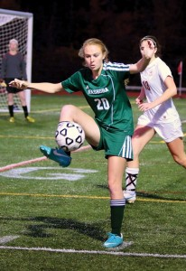 Senior Hanna Konash kicked in the winning goal in double overtime.  Susan Shaye