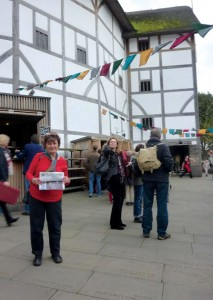 Jane and Arnie Epstein recently spent a week hiking in the English Lake District followed by a few days in London.  Pictured is Jane at the Globe Theatre before attending the final performance until next April.  As in Shakespeare's day, the theatre is open to the elements!