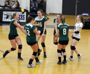 Nashoba volleyball: (Left to right)  #6 Natalie Lindsay, #12 Olivia Perkins, #16 Jordan Bricknell, #20 Jaque Maniak, #8 Clarissa Tucker, #4 Theresa Cloutier.            Susan Shaye