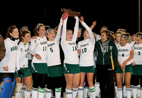On to State Finals! The Nashoba Field Hockey team lifted the Central Mass. Division 1 trophy for the first time in 38 years, after beating Quabbin 3-2 on Saturday, Nov 8. The team moved on to the Div. 1 state semi-finals, beating Western MA champs Longmeadow 3-2 Wednesday night. The team now heads to the Div. 1 State Finals against Acton-Boxborough on Sunday at WPI.                                        Susan Shaye; www.susanshaye.com
