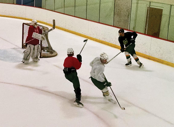 The NRHS hockey team  at practice Sat. night       Mike LeClair