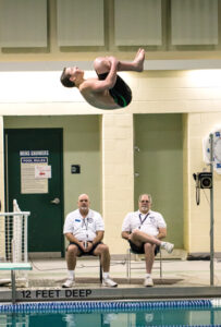 The team's  only diver, freshman Tim  St. Denis of Stow Adrian Flatgard; frequentflyerphotographer@gmail.com