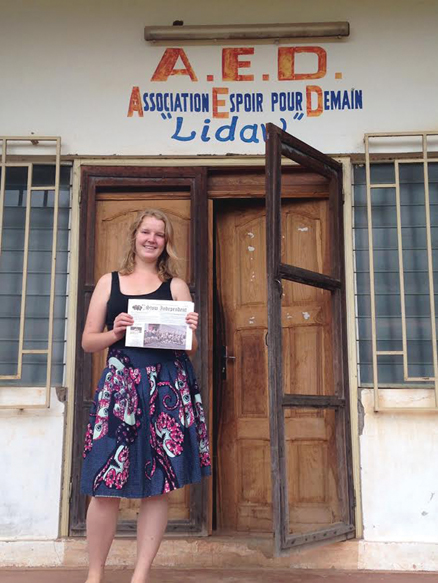"Madeline Jenkins spent the summer of 2014 volunteering at a clinic in Lomé, Togo.  She was there with other students from MIT's GlobeMed chapter helping their partner Hope Through Health.  The sign over the door says ""Hope for Tomorrow"" and the word ""Lidaw"" means Hope in Kabiye, the native language of the Togolese region Madeline visited."