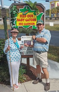 Stow's Drew & Cathy Simmons playing mini-golf with the alligators in Ft Myers, Florida