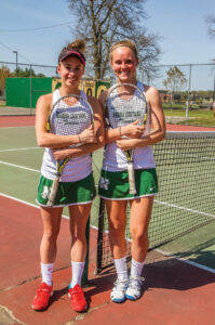 Tennis Co-Captains Jillian Winer (l) and Kelly Poole.                              Adrian Flatgard