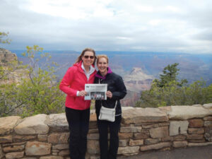 "Stow's Christine Midwood and Lara Sosnosky (from Kirkland, WA) hiked across the Grand Canyon in late May!  Christine wrote, ""We started at the top of the North Rim and hiked 14 miles down to the Colorado River (an elevation loss of 5800 feet).  After two nights at Phantom Ranch, we hiked 10 miles up to the South Rim (elevation gain of 4400 feet).  It was an incredible trip - the scenery is breathtaking and it changes as you descend through the layers of the canyon.  This photo was taken from the South Rim after a good meal and a hot shower!"""