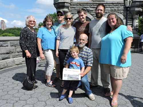 Celebrating at the Belvedere Castle in Central Park, NYC after the wedding of Neil Gray (1997 Nashoba HS graduate) and Caitlin McOmish.  Back row:  Karen Gray, Alyson Toole, JT Toole, Caitlin McOmish, Neil Gray, James Gray, Heather Gray; Front row: Owen Gray, David Gray.