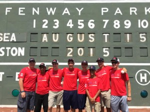 The U.S. half of the Lindos Sueños team in front of the Green Monster at Fenway.                                                                           Courtesy