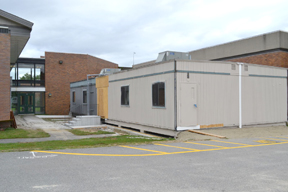 The two portable classrooms from the former Pompositicutt School are attached and ready to go at NRHS.                                                                                                          Ann Needle