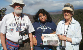 Rosa Walrath took her grandparents, Pat and Bob Walrath, to Hawaii on a Road Scholar grandparent/grandchild trip.  Here they are with the Stow Independent at the Kilauea volcano caldera on the Big Island.