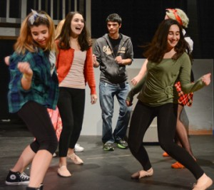 "Dance Students Rehearsing in Nashoba Drama's upcoming production of ""Fame,"" with performances this weekend. Pictured  left to right are:   Sarah Newton , Sophia Mellis, Noah  Travalent, Julia Wachtel  Courtesy"
