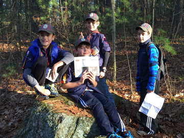 On November 25, Stow's Cub Scout Den 7 took a hike along the Marble Hill Conservation Area.  The boys did some trail maintenance while walking the 3 mile loop that included cutting away two trees that had fallen across the trail and clearing the path of loose branches. The boys l to r:  Thomas Hastings, Logan Cullen, Max Valentino, and Benjamin Curcio.