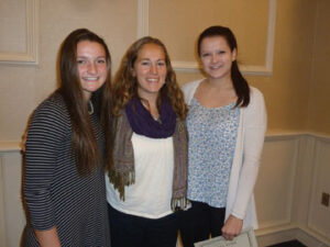 Nashoba High School girls Varsity Soccer All-Star team members at the Central Mass Soccer All-Star banquet held Jan. 3  at the Double Tree Suites in Leominster. Pictured are (left to right): Grace Keith, Coach Renee Moulton, and Courtney Aylaian.  Also named to the Fall Girls Soccer All-Star list are Ashley Spellman, Alana Carlucci and Marissa Kelberman.                                         Courtesy