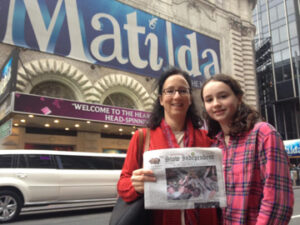 "The Jarger family and their Stow Independent recently visited  New York City to see the show ""Matilda.""  Fatih Jarger (left) and Sophie Jarger (right) are pictured."