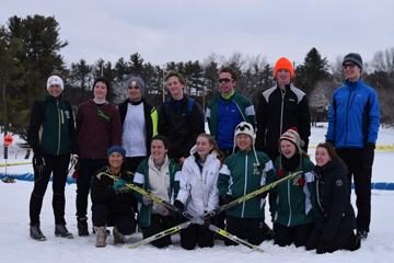 Nashoba's ski teams faced tough conditions this season with warm temperatures and lack of snow.  Pictured above is the Nordic (cross country) ski team (l-r, back row):  Margaretha Burr Nyberg(coach), Isaac Bleecker, Michael Fulciniti, Maxwell Mitchell, Jack Gaffney, Cameron Donahue, Zachary Hill. (Front, l-r): April Mishley, Erin Brooks, Sophia Greszczuk, Jessie Duggan, Riley Seith and Margo Coppes. Missing Hannah Gaffney.  More on the ski teams below.                              Courtesy