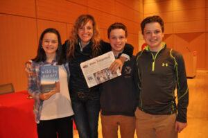 "Madeleine, Casey and Patrick Arsenault with National Geographic Explorer of the Year Sarah Marquis in Cambridge,  after attending her talk about her 3-year walk from Siberia to Australia and her book about the adventure, ""Wild by Nature.""  We highly recommend the book."