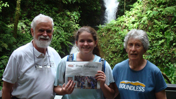 Hannah Connelly took her grandparents, Pat and Bob Walrath, to Costa Rica over February school vacation.  Here they are with the Stow Independent taking a break during a nature hike in the Monteverde Cloud Forest Reserve.