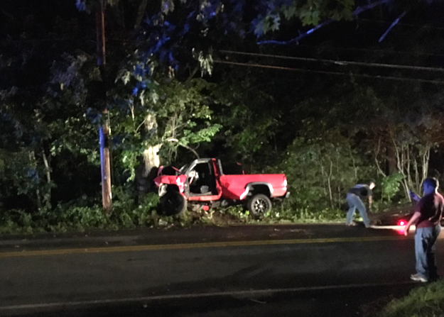 On Wednesday August 10 at 11:10pm, police were called to the scene of this single vehicle accident on Gleasondale Rd. The driver, from Marlborough, was extricated from the vehicle with the Jaws of Life and taken to Umass Memorial Hospital.  Courtesy photo.