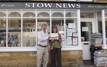 Kent and Lisa Moore in Stow on the Wold, England, a beautiful little town in the Cotswolds. We saw a bulletin board announcement about the annual town meeting which sounded just like home!